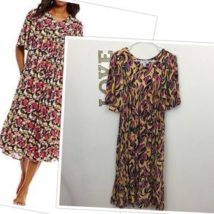 GO SOFTLY ABSTRACT FLORAL PATIO DRESS